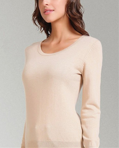 light tan low O neck 100% goat cashmere women pullover fashion ...