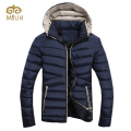 2016 Solid Down Cotton Casual Hooded Winter Warm Parkas Men Plus Size 3XL Black Red Khaki Blue Coat Jacket