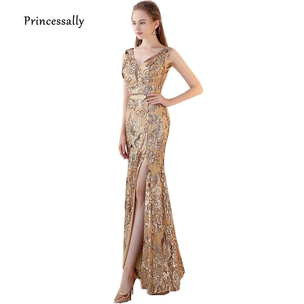 61bf99365e Robe de Soiree Nuevo oro lentejuelas vestido de noche largo V cuello  completo rebordear sexy rajó Bling vestido de fiesta tienda en línea china  en Vestidos ...