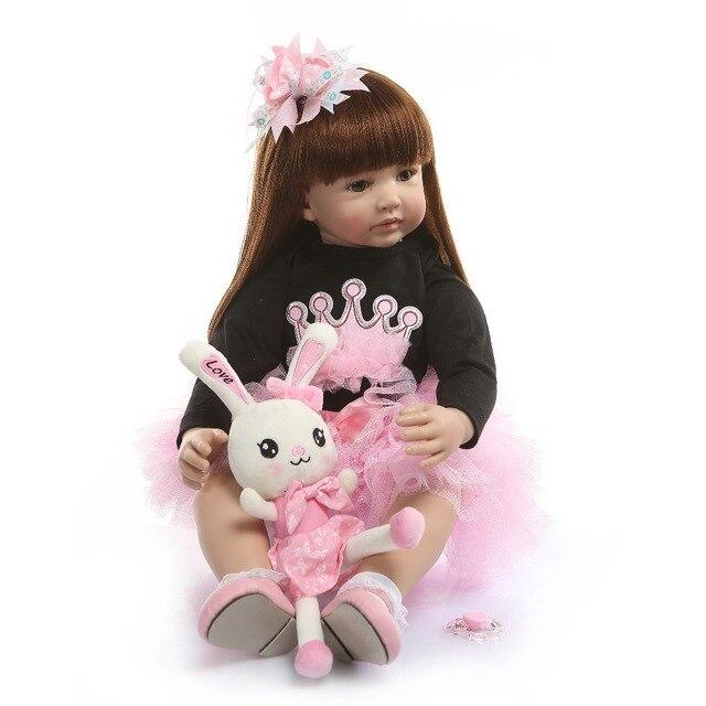 NPK 60cm Silicone Reborn Baby Doll giocattoli come vero vinile principessa bambino neonati bambole ragazze Bonecas regalo di compleanno Play House