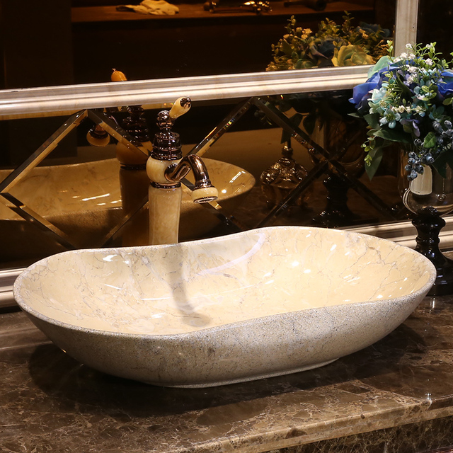 Imitation Stones China Vintage Style Ceramic Art Basin Sink Counter Top Bathroom Hand Wash