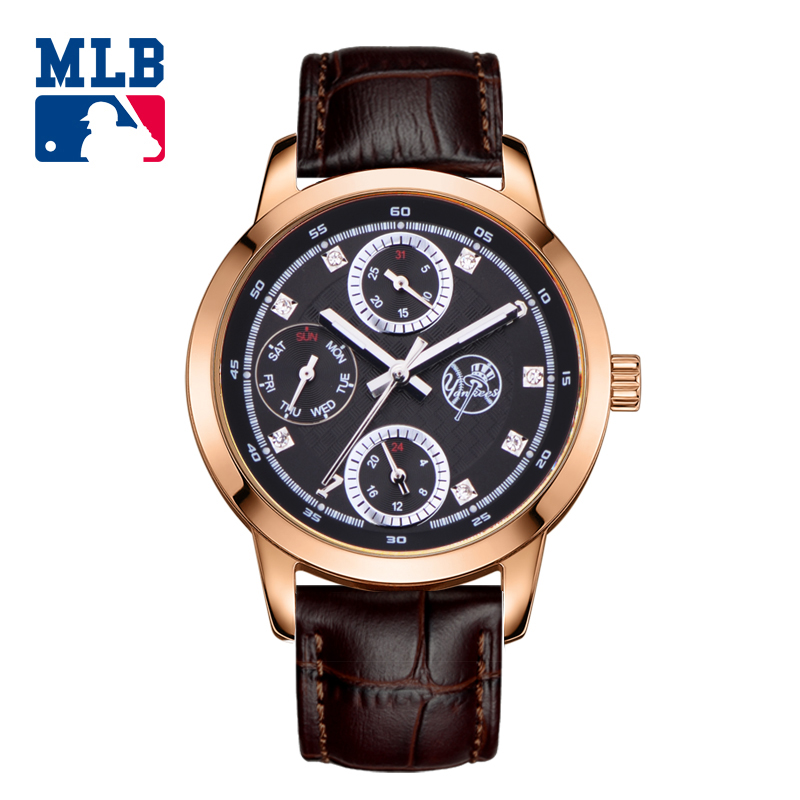 MLB  Luxury Brand Fashion Personality Quartz couple watch multifunction Waterproof leather Band men and women Wrist Watch D5012 2017 luxury brand fashion personality quartz waterproof silicone band for men and women wrist watch hot clock relogio feminino