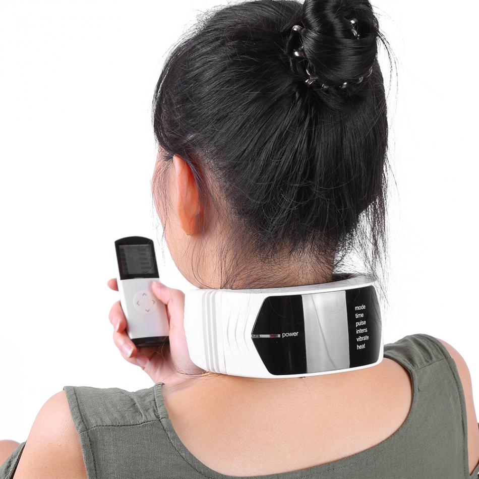 Far Infrared Heat Magnetic Therapy Neck Massager Pulse Electrode Wireless Remote Neck Meridian Massage Vibration Device
