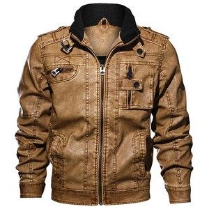 Image 4 - Faux Leather Jackets Mens Slim Fit Leisure Outwear Bomber Biker Winderbreaker PU Motorcycle Jackets Male Coat Plus Size 5XL 6XL