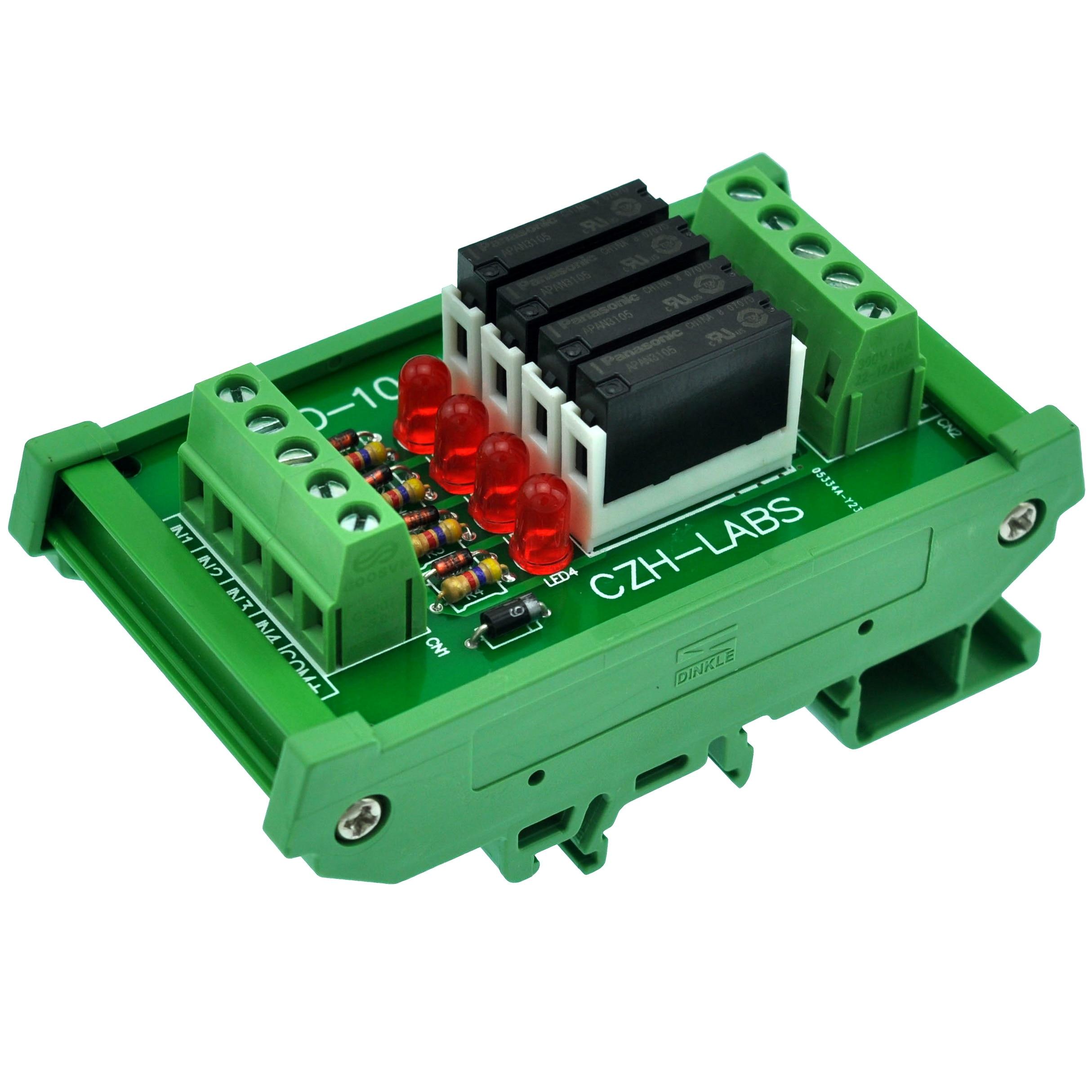 Slim DIN Rail Mount DC5V Sink/NPN 4 SPST-NO 5A Power Relay Module, APAN3105