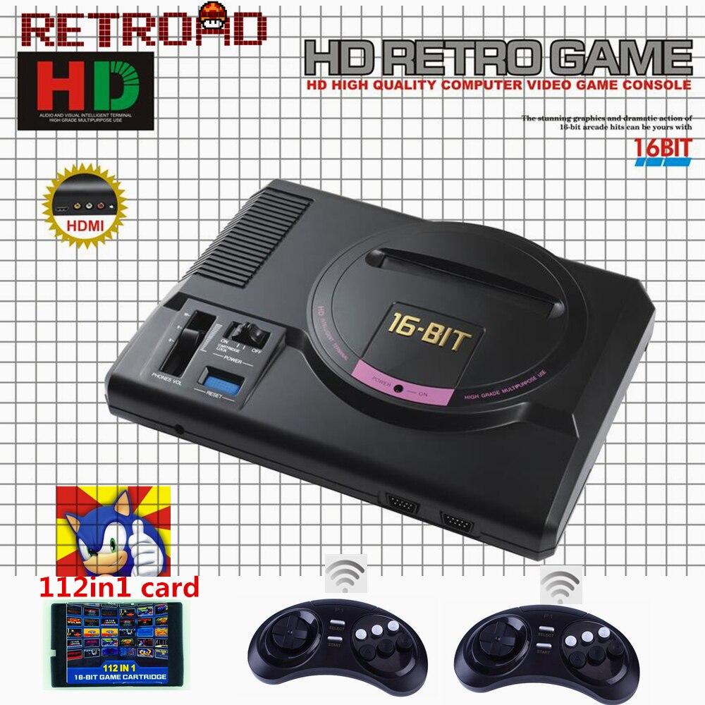 RETROAD 16Bit MEGADRIVE 1 MD Genesis Machine Compatible avec 126in1 SEGA carte de jeu 720DPI haute définition avec Gamepads sans fil-in Consoles de Jeux vidéo from Electronique    1