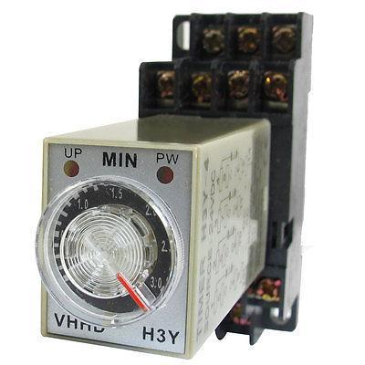 DC 24V 0-3 Minute Timer Power On Delay Time Relay 14 Pin H3Y-4 + Socket hhs6a correct time countdown intelligence number show time relay bring power failure memory ac220v