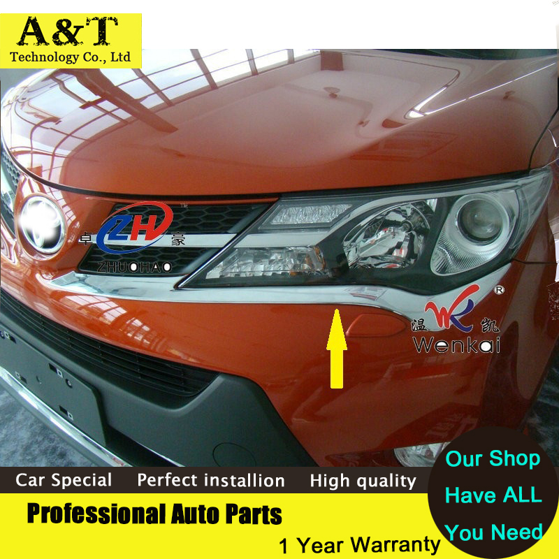 JGRT Chrome Head light headlight cover Eyelid trim For 2013-2015 Toyota RAV4 RAV 4 high quality chrome stickers trim car styling