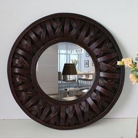 Ручной работы Бамбук Большой зеркальная деревянная рамка круглые настенные зеркала подвесное настенное зеркало росписи настенное зеркало