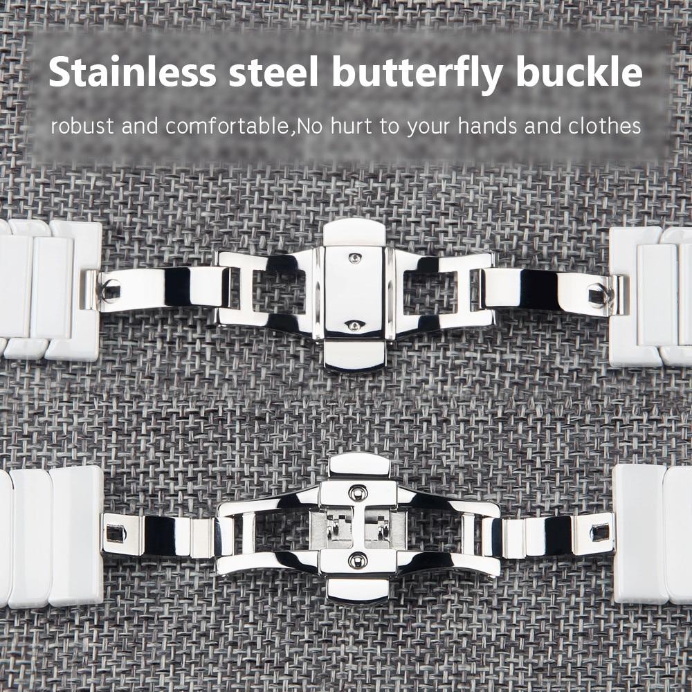 20mm 22mm Watchband Seramik Kayış Samsung Dişli S3 Üç Linkler - Saat Aksesuarları - Fotoğraf 3