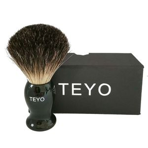 TEYO Black Badger Hair Shaving Brush of Resin Handle With Gift Box Packed Perfect for Wet Shave Safety Razor