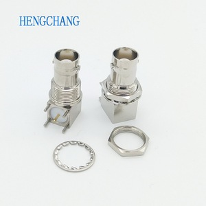 Image 2 - 10 Cái/lốc 5pin Đồng Mạ Nickel RF Đồng Trục Nối BNC Cái Ổ Cắm Vách Ngăn Góc PCB Gắn Đầu Nối BNC