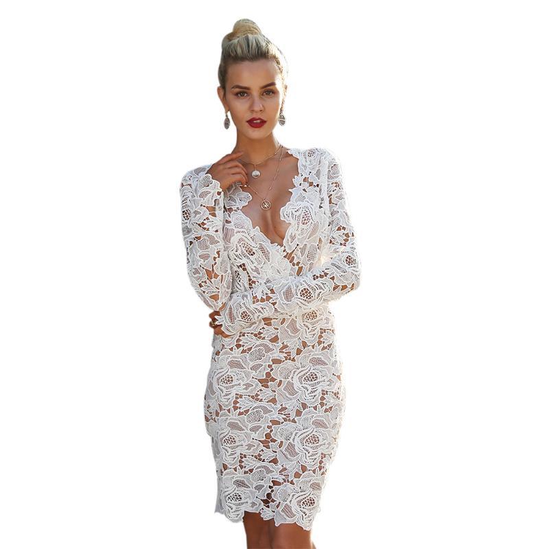 747adfb650 Spring Summer Dress 2018 Women Elegant Short Dress White Mini Long Sleeve V-Neck  Lace Dress Sexy Party Dresses Vestidos S-XL