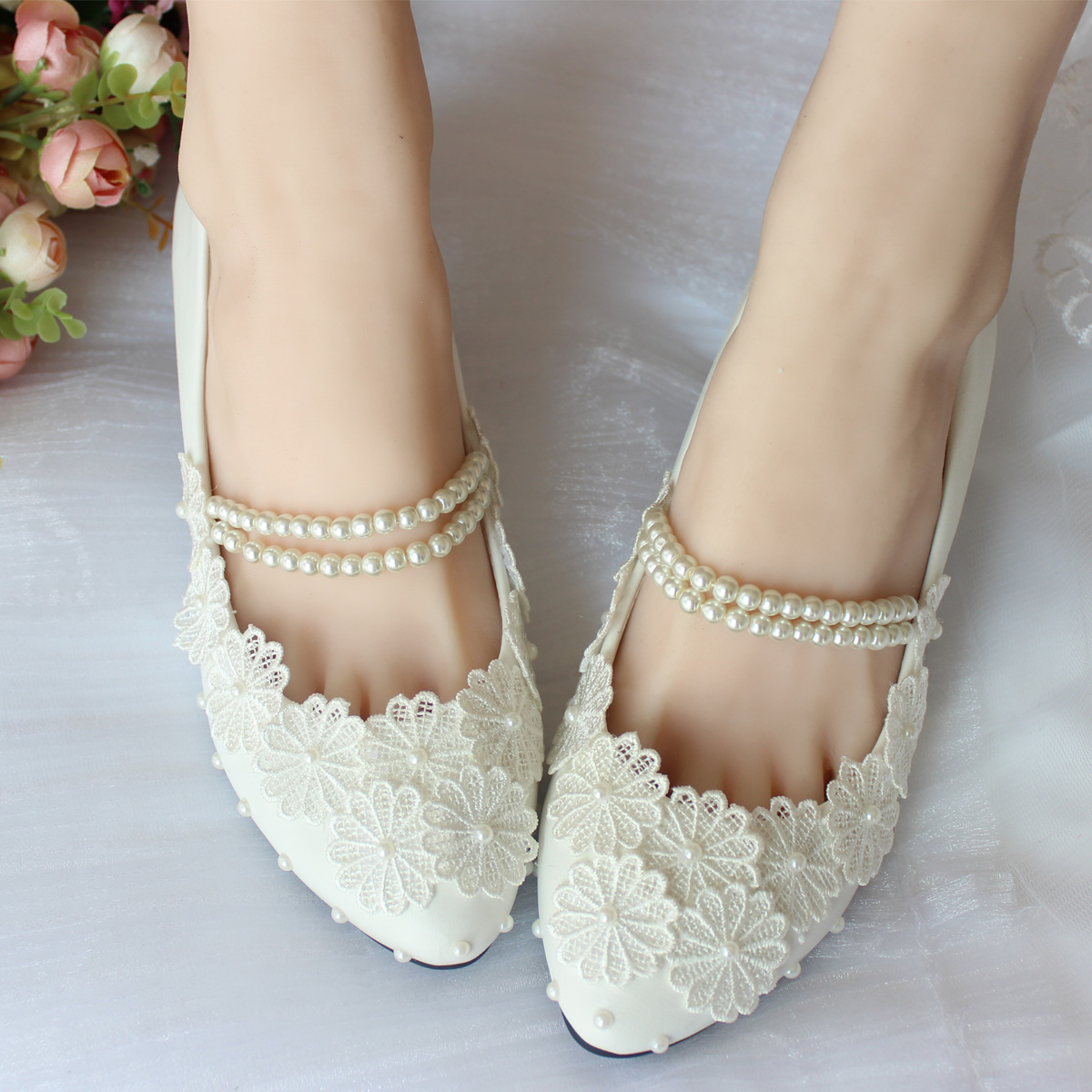 Summer Pearl String Belt Bridal Shoes Bridesmaid Wedding White Shoes Pure Sweet Lace Wedding ...