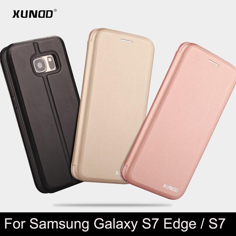 imágenes para Marca xundd anti-golpeado pu del tirón del cuero cubierta de la caja del teléfono protector para Samsung Galaxy Borde S7 S7 con tarjeta ranura