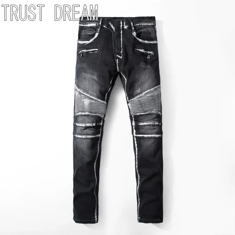 TRUST DREAM European Style Fashion Men Slim Painted Washed Jeans Stretch Denim Long Trousers Man Moto Biker Jeans nwt bp men s stylish fashion stretch slim cargo washed biker green jeans size 28 40 933