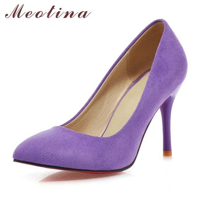 Meotina sapatos mulheres sapatos de salto alto senhoras rebanho apontou mulheres do dedo do pé bombas Sapatos Mulher De Salto Alto Tamanho Grande 9 10 43 Azul roxo