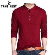 1046e804c1de1 TANGNEST 2019 de moda de manga larga hombres Camiseta Slim Casual cómodo T  camisa de los
