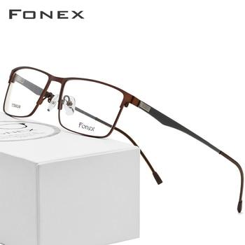 8d39a23114 Gafas de aleación de titanio marco para hombres ultraligero cuadrado miopía  prescripción Metal marco óptico completo sin tornillos gafas