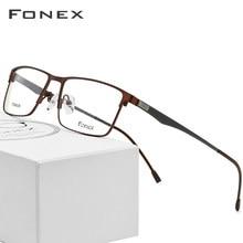 a58b3dd9944b8 Aleación de titanio gafas hombres ultraligero Plaza miopía anteojos  recetados completa Metal marco óptico sin tornillos gafas