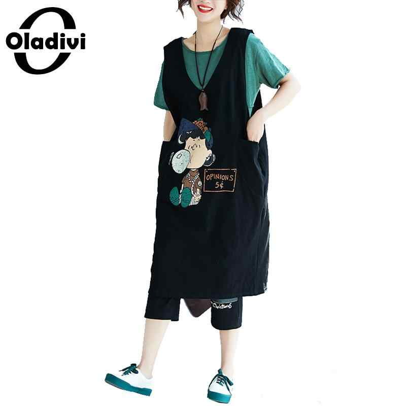 f1e44296a3f Detail Feedback Questions about Oladivi Brand Clothing Fashion Print Cotton Dress  Plus Size Tank Tops for Women Sleeveless Sundress Ladies Long Tee Shirt ...