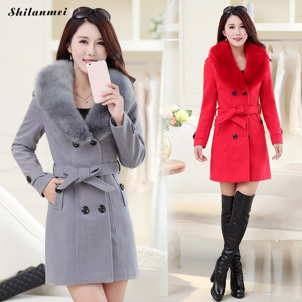Elegant Long Sleeve Artificial Fur Collar Woman'S Coat 2018 Winter Warm Plus Size 4xl Thicken Wool Coats Manteau Femme Hiver
