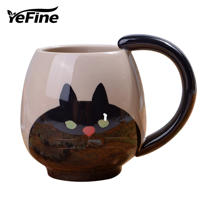 YEFINE Brand <font><b>Cute</b></font> <font><b>Animal</b></font> Pattern Design <font><b>Ceramic</b></font> <font><b>Cups</b></font> And Mugs Coffee Mug Mini Pig/Bear/Cat/Frog 4 Designs Water <font><b>Cups</b></font> Wholesale