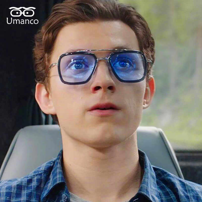 Umanco 2019 New Fashion Tony Stark Spider Man Pilot Sunglasses For Women Men Metal Frame PC Len Designer Brand Beach Travel Gift