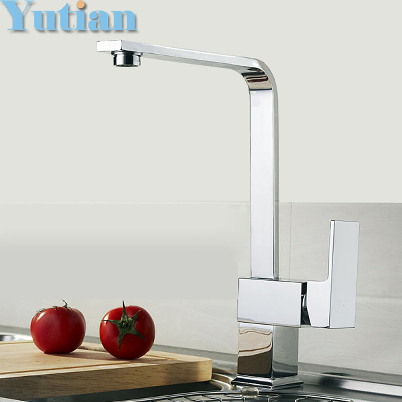 Free shipping Kitchen faucet Brass kitchen sink tap ,kitchen mixer,square swivel Kitchen Faucets, torneira YT-6004 led spout swivel spout kitchen faucet vessel sink mixer tap chrome finish solid brass free shipping hot sale