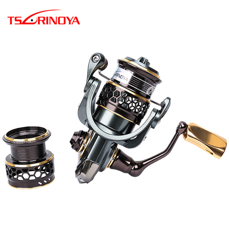 TSURINOYA Jaguar 2000/3000 серыя Spinning Reel Рыбалка 9 + 1BB Double Metal Spool Lure Fishing Rock Pescaria Reel мулинет Пясок
