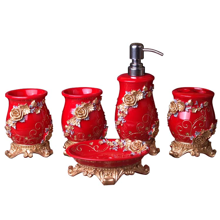 red bath accessories