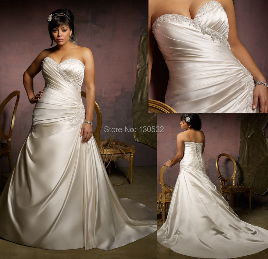 Online Shop Free Shipping WE 0399 Stunning Strapless Ruched Fitted Bodice Lace Up Back Fat Size Wedding Dresses For Big Women