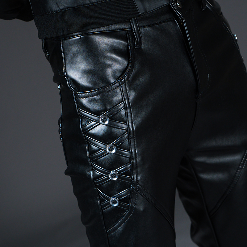 New Winter Spring Men's Skinny Leather Pants Fashion Faux Leather Trousers For Male Trouser Stage Club Wear Biker Pants 21