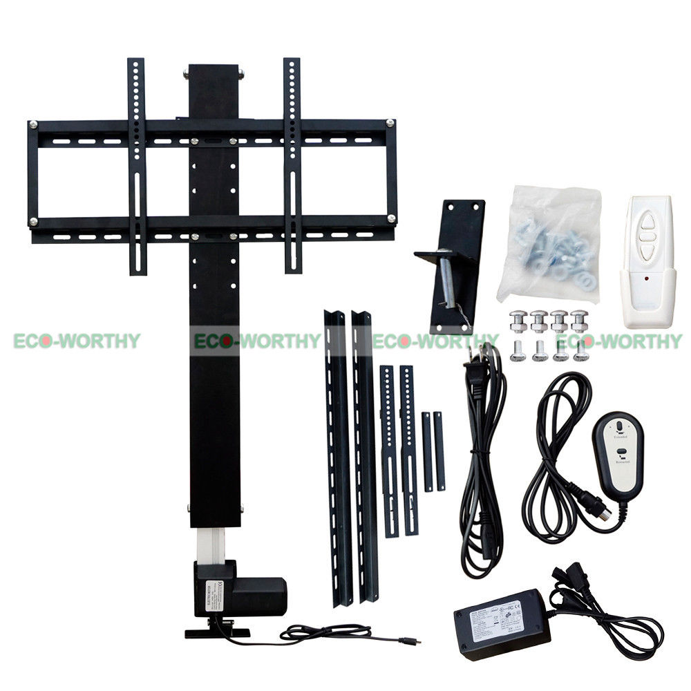 eco worthy lcd tv mount automatical tv lift 28 inch 100 240v 25mm s lcd tv mount w remote and. Black Bedroom Furniture Sets. Home Design Ideas