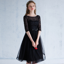Elegant O neck Half Sleeve Sexy Backless Lace Black font b Evening b font Gown Short
