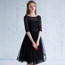 Eleganten Oansatz Halbe Hülse Sexy Backless Spitze Schwarz Abendkleid Kurze Kleider