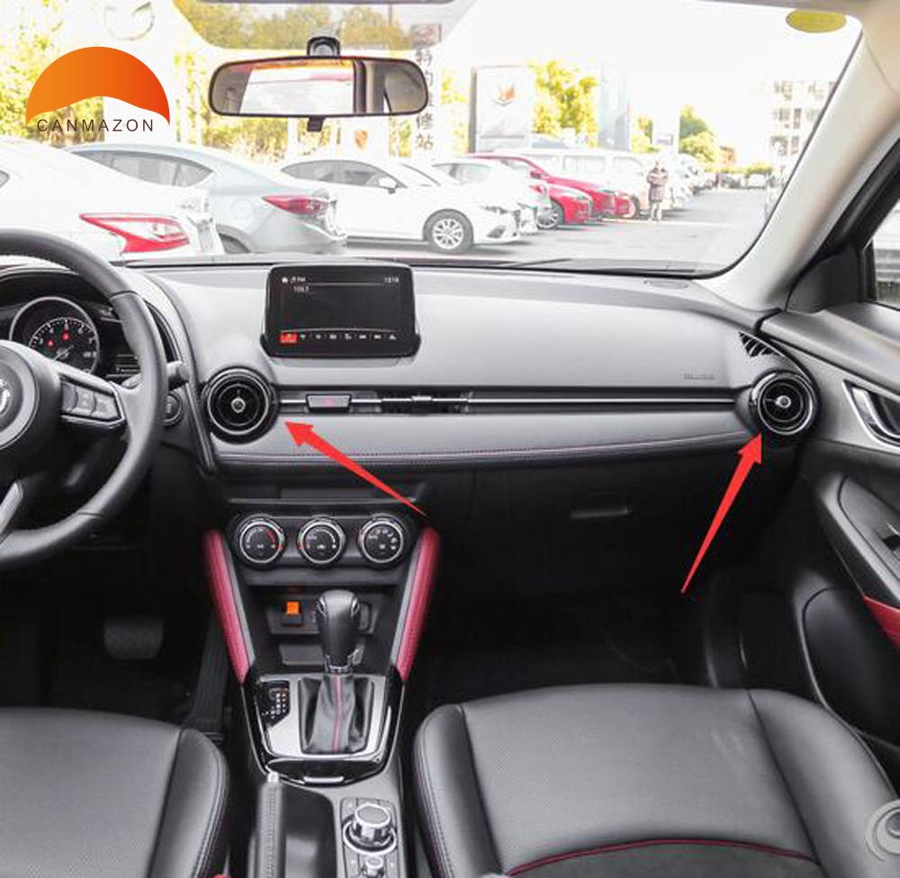 For Mazda CX-3 CX3 2015 2016 2017 2018 Car Air Conditioning Outlet Ring Air Outlet Cover Trim Auto Accessories Car Styling ABS 5 pcs lot car outlet perfume original auto perfumes air freshener car air conditioning vent clip flavor piece 5 flavor styling