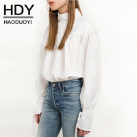 HDY Blouse Womens Puff Sleeve Blouses Long Sleeve Large Size Blouse Elegant White Women Blouse and Tops 2019 Spring Summer