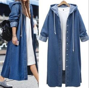 European and American Ladies Fashion Style Long Sleeve Single Breasted Hooded Denim   Trench   Coat 2019 Spring New Hot Jeans Coats