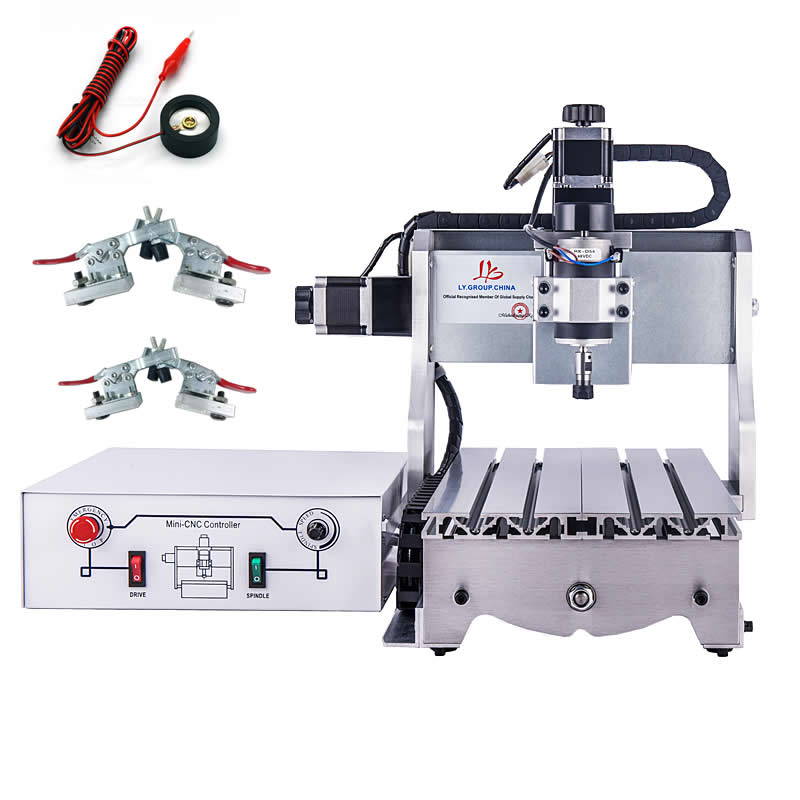 цена на Cheap mini cnc engraving machine 3020 300w desktop wood router lathe with knife tool setting