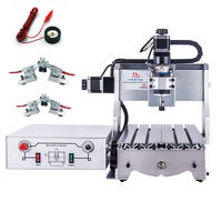 Cheap mini cnc engraving machine 3020 300w desktop wood router lathe with knife tool setting