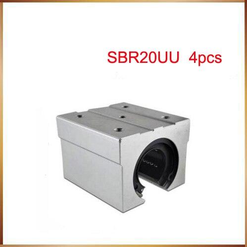 Free shipping 4 pcs SBR20UU SBR20 Linear Bearing 20mm Open Linear Bearing Slide block 20mm CNC parts linear slide