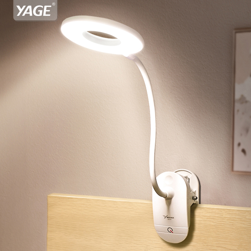 YAGE 18650 LED Touch On/off Switch 3 Modes Clip Desk Lamp 7000K Eye Protection Desk Light Dimmer Rechargeable USB Led Table Lamp Стикер