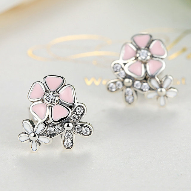 Silver color poetic daisy cherry blossom pandora drop earrings mixed silver color poetic daisy cherry blossom pandora drop earrings mixed clear cz pink flower women mightylinksfo