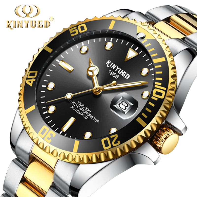 KINYUED Luxury Brand Mechanical Watches Stainless Steel Gold Self-Wind Automatic Mens Watch Waterproof Calendar Relojes Masculio original binger mans automatic mechanical wrist watch date display watch self wind steel with gold wheel watches new luxury