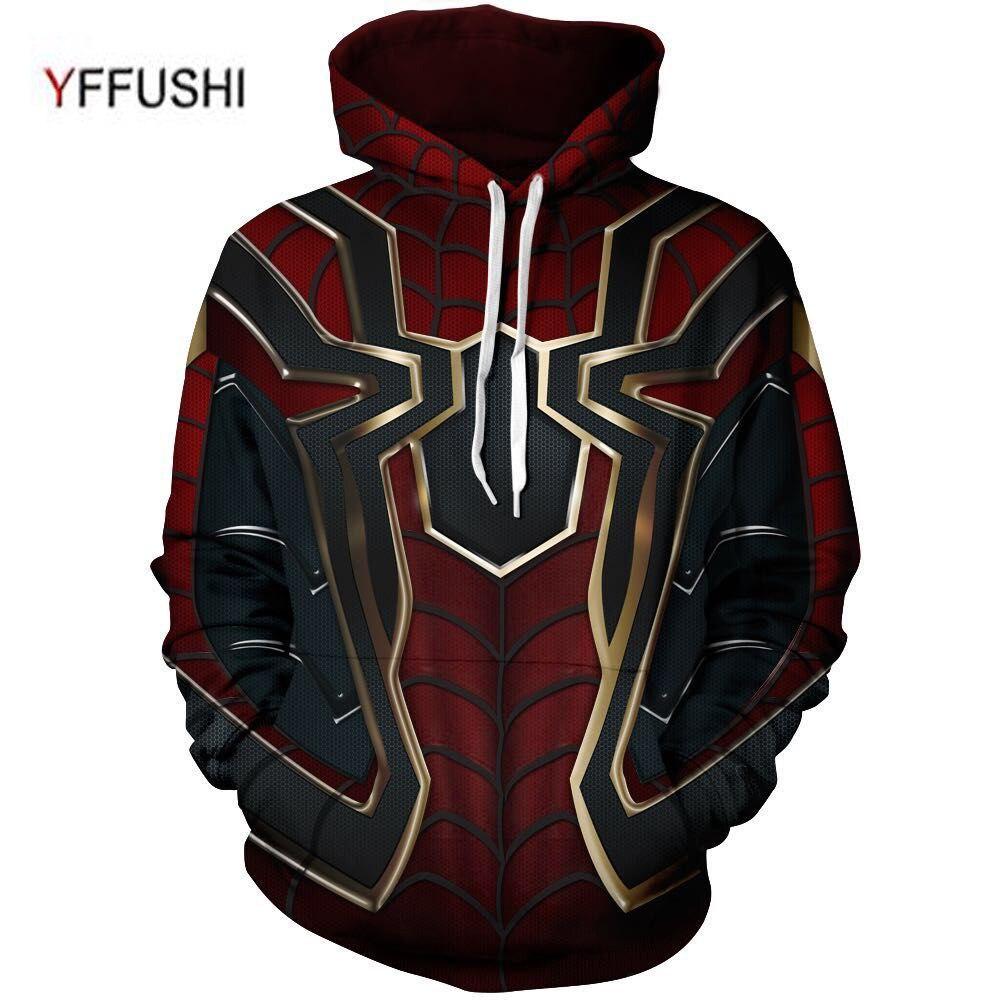 YFFUSHI 2018 Hot Sale Men hoodies Fashion men Spiderman 3d print Hoodies  Streetwear Casual Cospaly Sweatshirt Plus Size 5XL