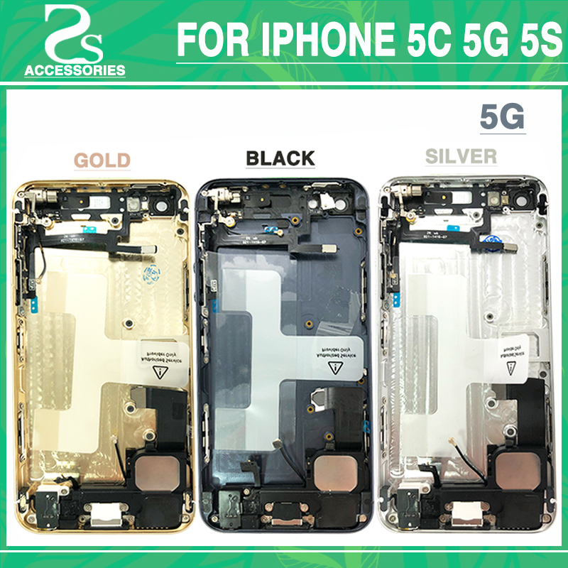 Volle Gehäuse Batterie Abdeckung Für IPhone 5 5g 5 s SE Batterie Tür fall Mittleren Frame Lünette Chassis Zurück abdeckung + Flex Kabel + Druck IMEI