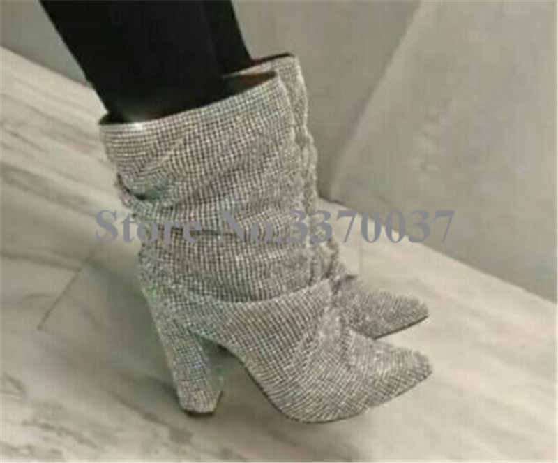 Women Luxury Pointed Toe Bling Bling Rhinestone Chunky Heel Boots Slip-on Crystal Thick Heel Ankle Boots Leisure Dress Boots цены онлайн