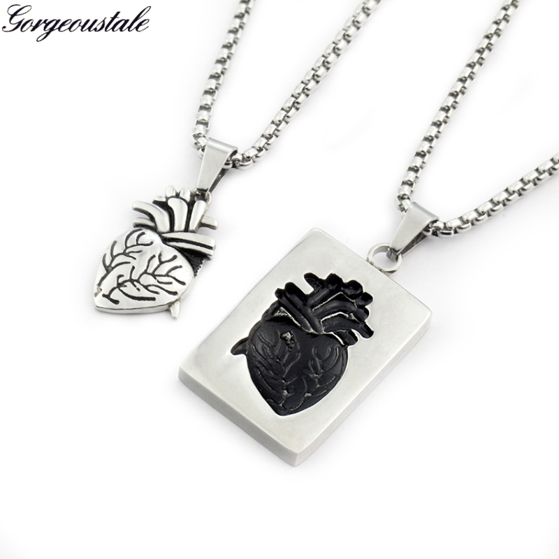 Couples Gift Puzzle Anatomical Heart Necklace Pendant Black s