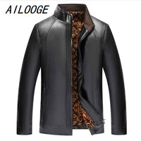 AILOOGE Men Leather Jacket Fashion Brand Quality Fleece Lined Motorcycle Bomber Faux Leather Coats Male Outerwear Winter Jacket